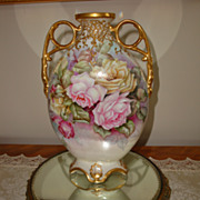 Limoges Antique Hand Painted Mantle Pillow Vase 19th Century Painting Gorgeous Roses Artist Si