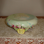Ornate Antique Limoges France Hand Painted 19th Century Jardiniere Punch Bowl Base Plinth Gorg