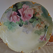 Antique Haviland Limoges France 19th Century Hand Painted Porcelain Charger Tray Plaque with R