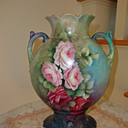 SOLD Antique Limoges France Hand Painted Porcelain 19th Century Pillow Vase ~ Mantle Vase~ Ros
