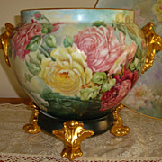 Spectacular Antique Limoges France Hand Painted HUGE Jardiniere - Planter -Urn - Vase ~Roses~ 