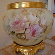 Amazing Antique Limoges France Gorgeous Painted Huge Jardiniere with Ornate Base - Planter - U