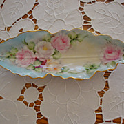 Antique Limoges France Hand Painted Scallop Tray ~Roses~ 19th Century. 1892