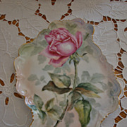 SOLD Gorgeous Hand Painted Ornate Victorian Tray Single Rose Ca. 1900