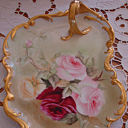 Gorgeous Antique Limoges France Handle Tray Hand Painted~Roses~  Ornate Mold~