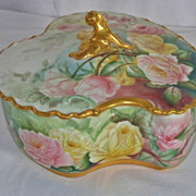 Haviland Limoges France Hand Painted Porcelain  Covered Jewel Box~Gorgeous Roses` Ca.1880's
