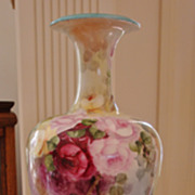 SOLD American Belleek Large Porcelain Hand Painted  Vase Gorgeous ~ Roses~  Ca. 19th Century