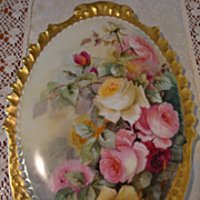 SOLD Antique Limoges France Incredible Hand Painted Porcelain Plaque  Victorian Roses ca.1891