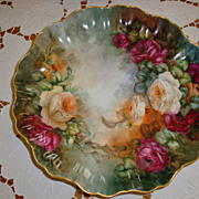 Antique Limoges France Hand Painted 19th Century Rose Bowl~ Console Bowl ~Gorgeous Roses~
