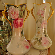Antique Limoges France Large Pair Gorgeous Mantle Vases 19th Century Spectacular Roses