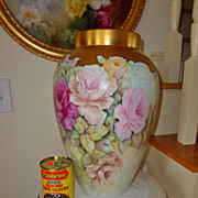 Huge Limoges France Hand Painted Porcelain Vase Gorgeous ~Roses~