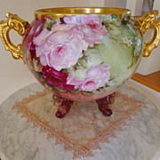 SOLD Amazing Antique Limoges France Gorgeous Painted Huge  Footed Jardiniere with Large Rich R