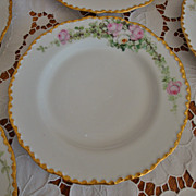 SOLD Spectacular 19th Century Set of 10 Antique Limoges JPL Dinner Plates Service Plates ~Rose