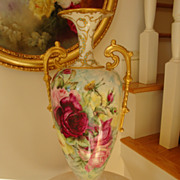 "SOLD Gorgeous Antique American Belleek Tall 18"" Vase Ornate Handles 19th Century"