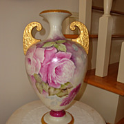 Gorgeous Large Willets Belleek Ornate Vase Spectacular Roses Artist Signed