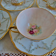 Antique Limoges France Ornate Set of 6 Cups and Saucers Hand Painted ~Roses~ 19th Century~