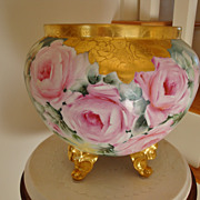SOLD Spectacular Antique Limoges France Hand Painted HUGE Footed Jardiniere - Planter -Urn - V