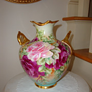 Antique American Belleek Vase Ornate Gold Handles 19th Century ~Roses~