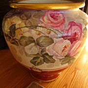 Antique Limoges HUGE Hand Painted Porcelain Jardiniere Vase Urn Gorgeous ~Roses~ 19th Century~