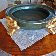 Beautiful Large Punch Bowl Jardiniere Vase Plinth or Base Hand Painted Victorian Greens with R