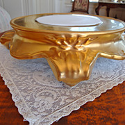 Gorgeous Limoges Style Rich Roman Gold Base Plinth for Punch Bowl Jardiniere Vase