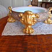 Antique Limoges France Large Hand Painted Pedestal Base Plinth for Punch Bowl Jardiniere or Va