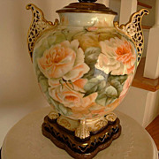 American Belleek Porcelain Ornate Handled Hand Painted Lamp ~Roses~