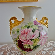 SOLD Spectacular Antique American Belleek Porcelain Vase ~Roses~Cherub Face Handles~