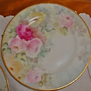 Limoges France Hand Painted Porcelain Plates Roses Set of 8