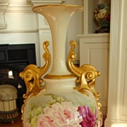 SOLD Spectacular ~Museum Quality~ American Belleek Vase ~Ornate Handles~ Roses~