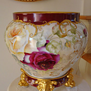 Gorgeous Limoges France Most Ornate Jardiniere with Paw Footed Base~ Roses~Gold~Ornate