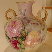 SOLD Belleek Hand Painted Porcelain Vase Ornate Handles ~Roses~