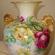 SOLD Belleek Antique Porcelain Hand Painted Vase Cherub Face Handles ~Roses~