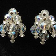 Vintage AB Aurora Borealis Cluster Crystal Bead Earrings 1960s