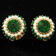 Vintage Emerald Green Rhinestone Faux Pearl St Patricks Day Earrings