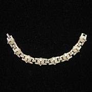 Vintage Rhodium Plated Faux Diamond Rhinestone Link Bracelet