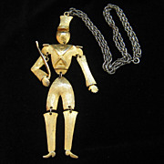 Vintage Large Soldier Articulated Pendant Necklace Polcini Style