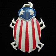 SALE Vintage Designer Nemo Red White Blue Patriotic Bug Pin