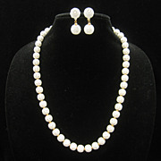 Vintage Monet Summer White Pierced Ball Necklace Earrings 60s