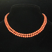 SOLD Vintage Salmon Colored Natural Coral Bead Necklace