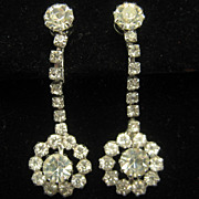 Vintage Rhinestone Floral Dangling Wedding Prom Earrings