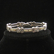 Vintage CW Sterling Silver Marcasite X Bracelet