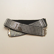 Vintage Silver Tone Metal Fish Scale Stretch Belt