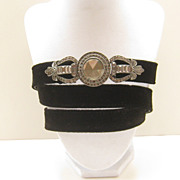 Vintage Chico's Rhinestone Black Felt Leather Belt