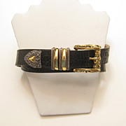 Streets Ahead Santa Monica CA Faux Croc Belt Floral Buckle