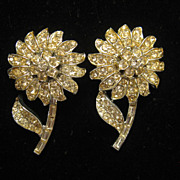 Vintage Pair of Corocraft Floral Yellow Rhinestone Dress Clips