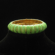SOLD Vintage Lisner Green Enamel Summer Clamper Bracelet