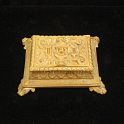 Vintage Brass  Art Deco Style Stamp Box 1940s