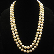Vintage Large Opera Length Glass Pearl Necklace 11.5 MM