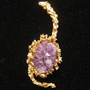 Vintage Panetta Amethyst Geode Crystal Organic Pin Pendant